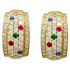 Vintage 1.96 Carat Diamond Sapphire Ruby and Emerald Yellow Gold Earrings
