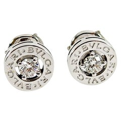 Bulgari Bvlgari 18 Karat White Gold Diamond Logo Stud Earrings