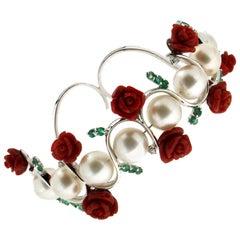 Coral 18 Karat White Gold Pearls Diamonds Emeralds Cuff Bracelet