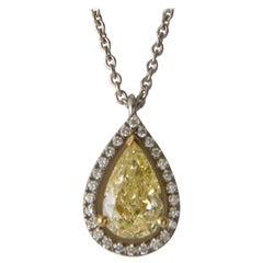 Fancy Yellow Diamond 1.5 ct GIA, White Diamond ,White Gold 18 K Pendant Necklace