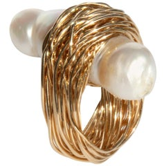 Baroque Pearl woven into a Gold Wire Statement Cocktail Ring