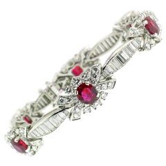 Platinum Bracelet with 5.8 Carat of Rubies and 7.6 Carat of Diamonds