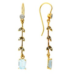 Antique Split Pearl and Aquamarine Drop Earrings