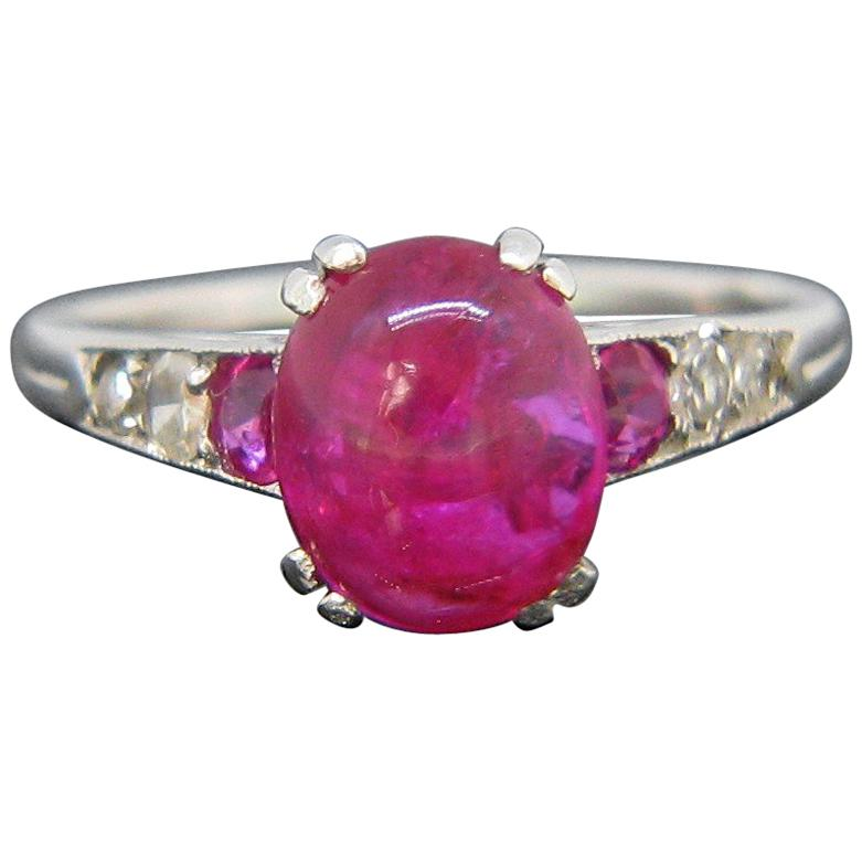 Art Deco Ruby Cabochon and Diamonds Platinum Ring