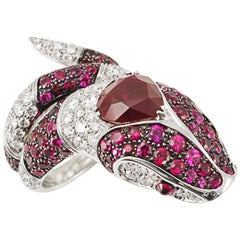 Picchiotti GRS Report 4.01 Carat Burma Ruby and Diamond Snake Ring