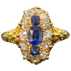 Victorian Burmese Sapphire Old Cut Diamonds Marquise Yellow Gold Ring