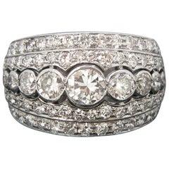 Vintage French Diamonds Graduating Platinum Band Ring