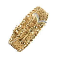 1960s Retro Yellow Gold Braid Diamonds Bracelet