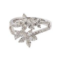 Cocktail Flower 18 Karat White Gold Diamond Ring