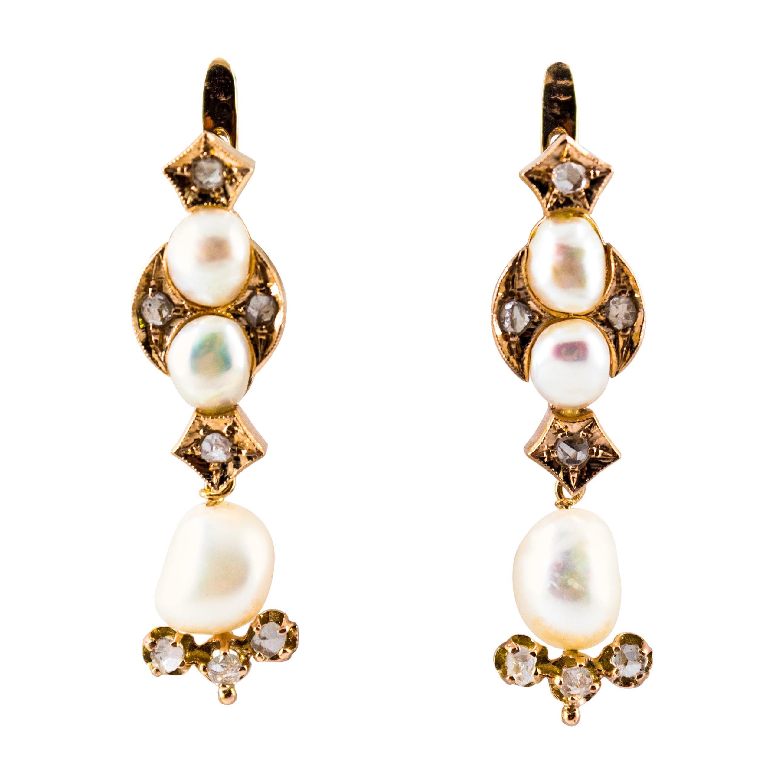 0.65 Carat White Rose Cut Diamond Pearl Yellow Gold Lever-Back Drop Earrings