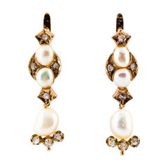 0.65 Carat White Rose Cut Diamond Pearl Yellow Gold Lever-Back Drop Earrings