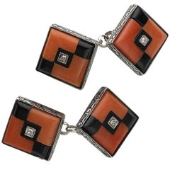 Art Deco Coral Black Onyx Diamond and Platinum Cufflinks, Circa 1930