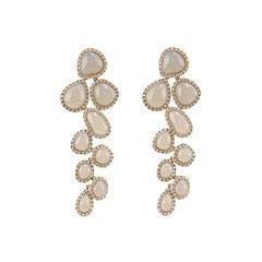 Grey Agate 18 Karat Gold Diamond Dangle Drop Earrings