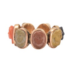 """Antique Early Victorian """"Days of the Week"""" Classical Cameos Ring"""