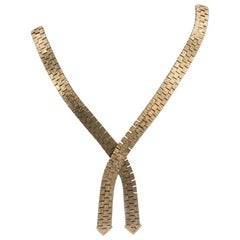 Vintage 1980s 9 Carat Gold Book Chain Crossover Necklace