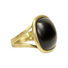 Black Agate 18 Karat Gold Dome Ring