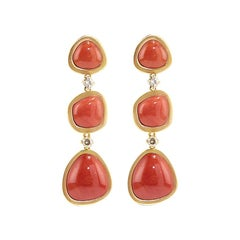 Coral 18 Karat Gold Diamond Dangle Drop Earrings