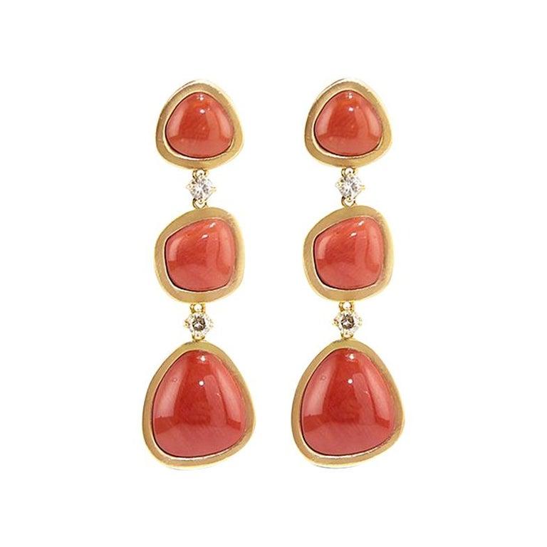 Coral 18 Karat Gold Diamond Dangle Drop Earrings For Sale