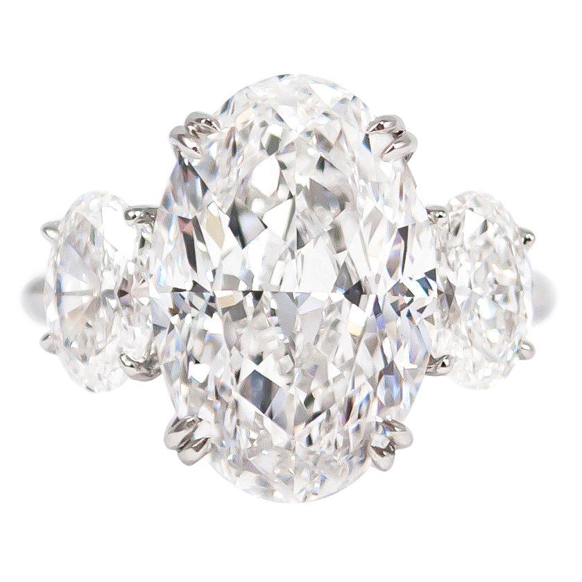 J. Birnbach GIA Certified 8.03 E SI1 Carat Oval Diamond Three-Stone Ring
