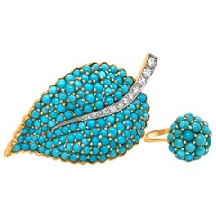 18 Karat Gold Turquoise and Diamond Brooch and Ring