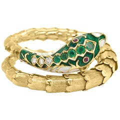 Victorian 14 Karat Gold Diamond and Emerald Enameled Snake Bracelet