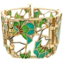 Art Nouveau 18 Karat Gold, Diamond and Plique-a-jour Enamel Bracelet