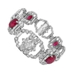 GIA Certified Art Deco Unheated Burma Origin Ruby and Diamond Platinum Bracelet