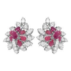 18 Karat White Gold Pair of Ruby and Diamond Earrings