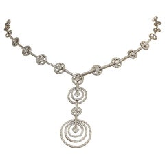 Diamond Gold Multi-Hoop Drop Necklace