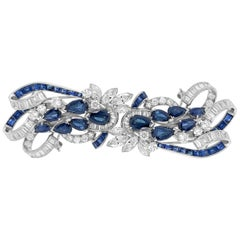 Tiffany & Co. Sapphire and Diamond Double-Clip Brooch