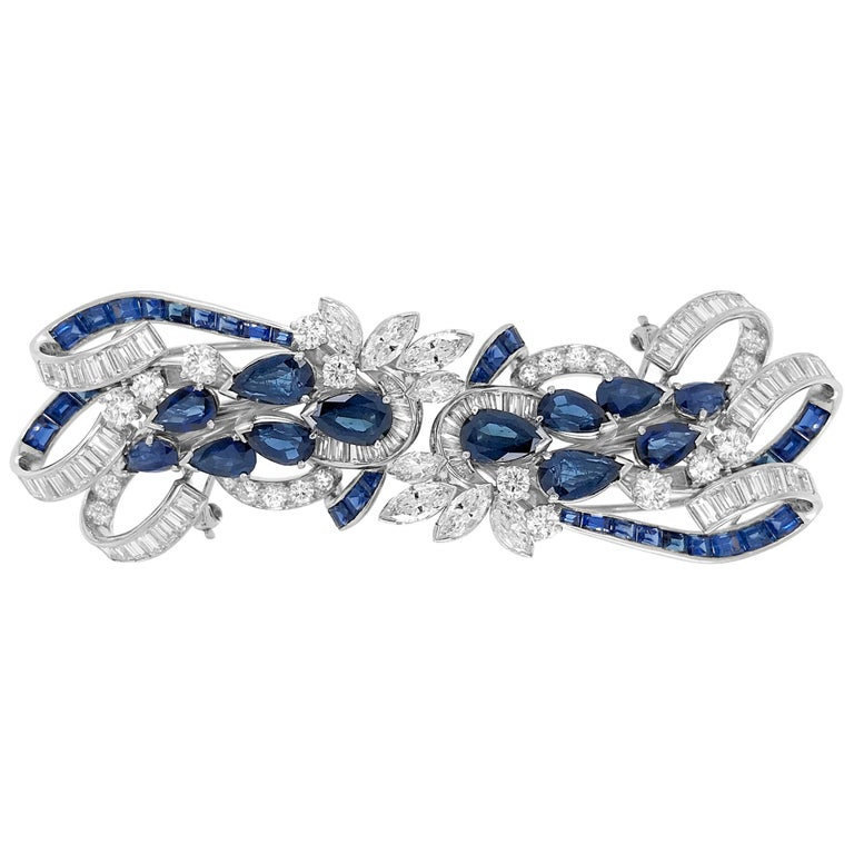 Tiffany & Co. Sapphire and Diamond Double-Clip Brooch For Sale