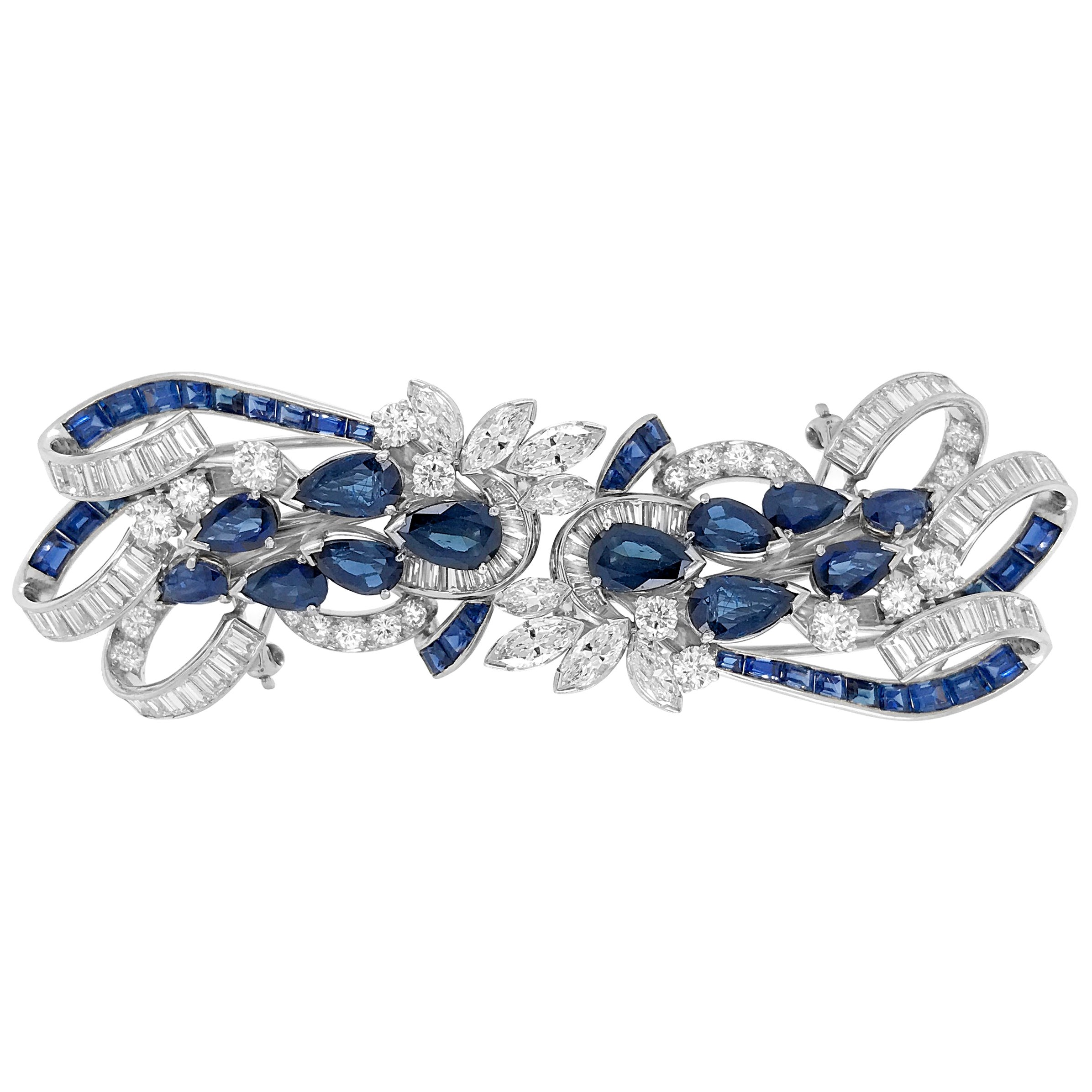 Tiffany & Co. Sapphire and Diamond Double-Clip Brooch
