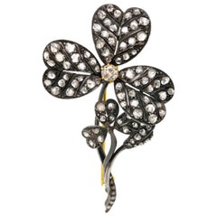 Antique Russian Clover Motif Diamond Brooch