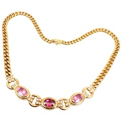 Bulgari Diamond Tourmaline Pink Sapphire Yellow Gold Link Necklace