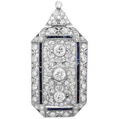 Platinum, Sapphire and Diamond Pendant-Brooch