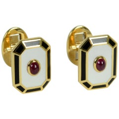 Classic Art Deco Style, Mother of Pearl, Cabochon Ruby, and Black Onyx Cufflinks