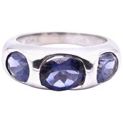 10 Karat White Gold Iolite Ring