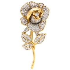 Diamond Rose Pins, Long Stem