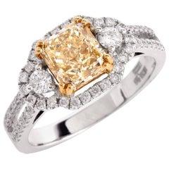 Fancy Light Yellow Diamond White Gold Engagement Ring