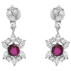 AGL Certified Pair of Platinum, Ruby and Diamond Pendant-Earrings