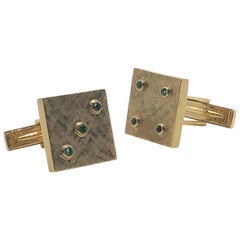 "Vintage Men's Dice Cufflinks in 14 Karat Yellow Gold and Emeralds, ""Lucky Seven"""