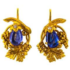 5.00 Carat Tanzanite 0.12 Carat White Diamond Yellow Gold Lever-Back Earrings