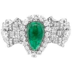 Pear-Shaped 23 Carat Emerald Bracelet, Platinum and Diamond, Clerc