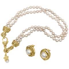 Judith Ripka, Double Strand Pearl 18 Karat Gold Necklace and Earrings Set