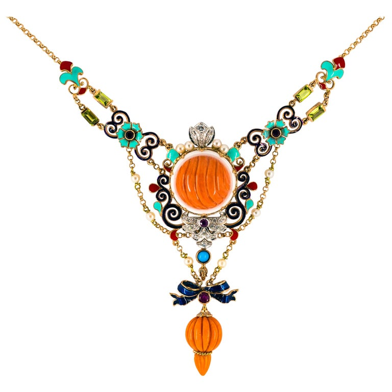 Art Nouveau White Diamond Ruby Turquoise Coral Pearl Enamel Yellow Gold Necklace For Sale