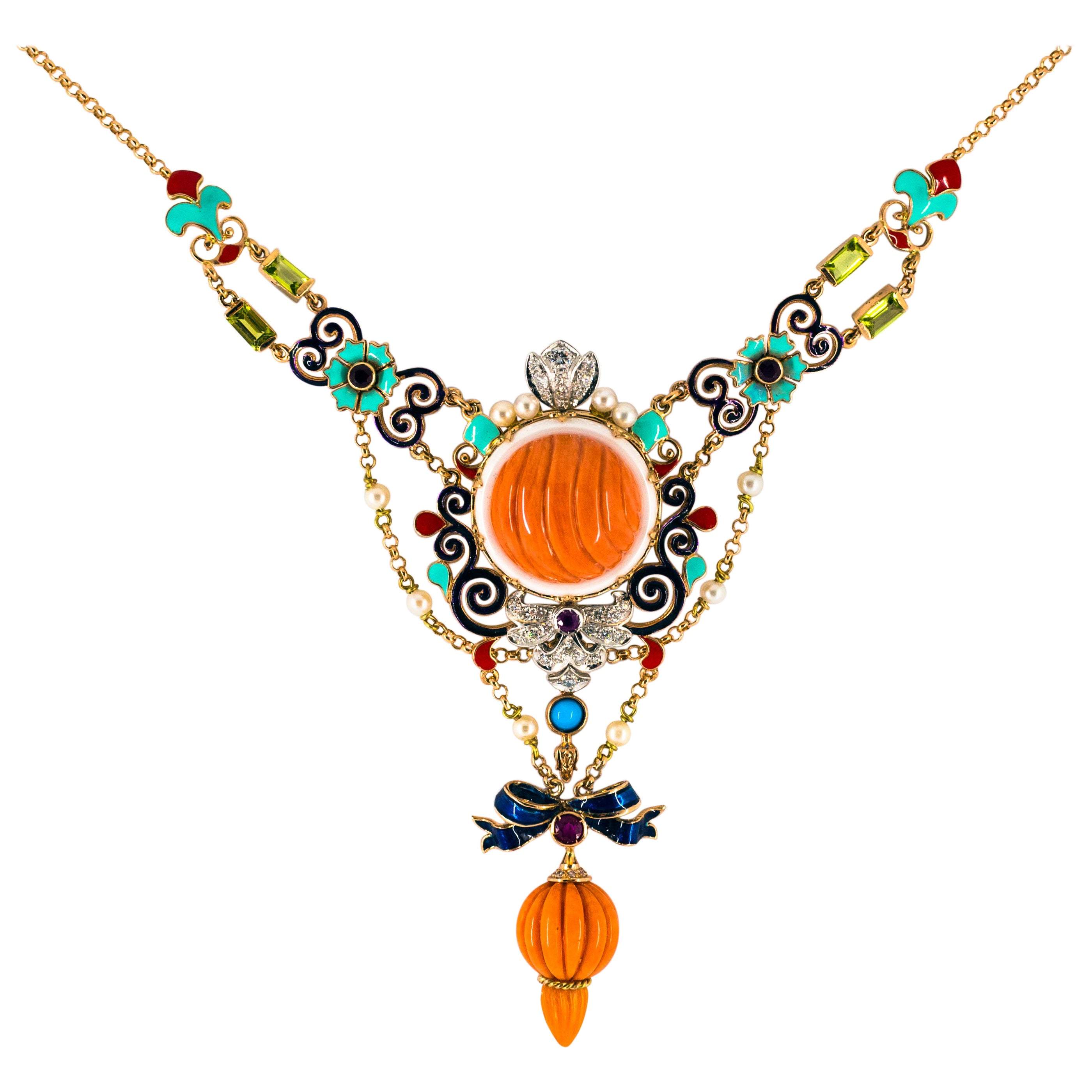 Art Nouveau White Diamond Ruby Turquoise Coral Pearl Enamel Yellow Gold Necklace