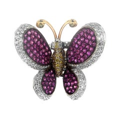 Zorab Creation Pink Sapphire and Diamond Butterfly Ring