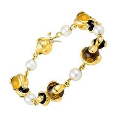 Marina B Citrine, Black Jade and Pearl Cardan Bracelet