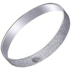 Alex Soldier Sterling Silver Platinum Textured Bangle Bracelet