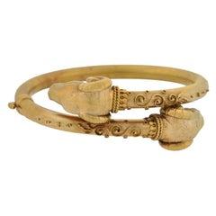 Victorian Etruscan Double Ram's Head Bypass Bracelet